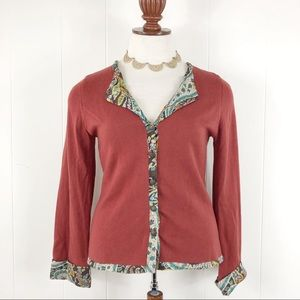 Soft Surroundings Cashmere Cardigan Red Rust Silk
